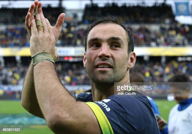 Morgan Parra of ASM Clermont celebrates the victory following the European Rugby Champions Cup quarter final match between ASM Clermont Auvergne and...