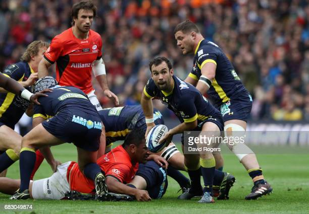Morgan Parra of Clermont Auvergne passes the ball during the European Rugby Champions Cup Final between ASM Clermont Auvergen and Saracens at...