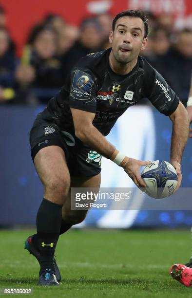 Morgan Parra of Clermont Auvergne passes the ball during the European Rugby Champions Cup match between ASM Clermont Auvergne and Saracens at Stade...