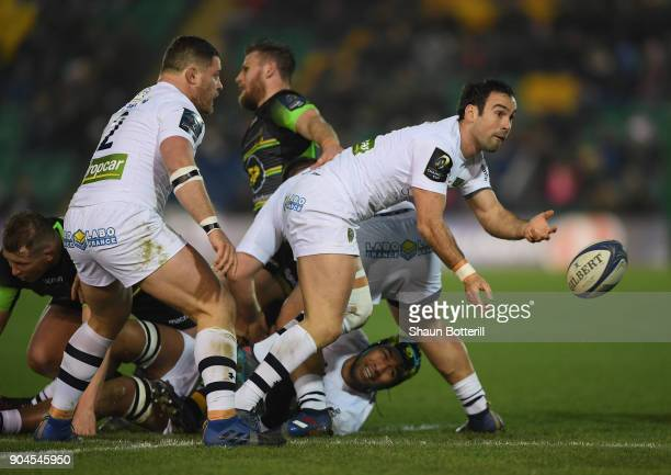 Morgan Parra of Clermont Auvergne passes the ball during the European Rugby Champions Cup match between Northampton Saints and ASM Clermont Auvergne...
