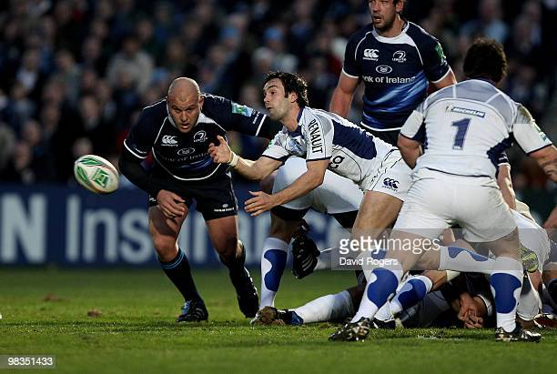 Morgan Parra of Clermont passes the ball during the Heinken Cup quarter final match between Leinster and Clermont Auvergne at the RDS on April 9 2010...