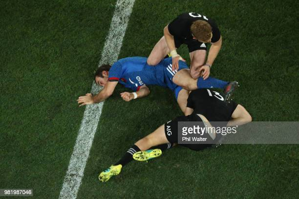Morgan Parra of France hits the ground in a tackle during the International Test match between the New Zealand All Blacks and France at Forsyth Barr...
