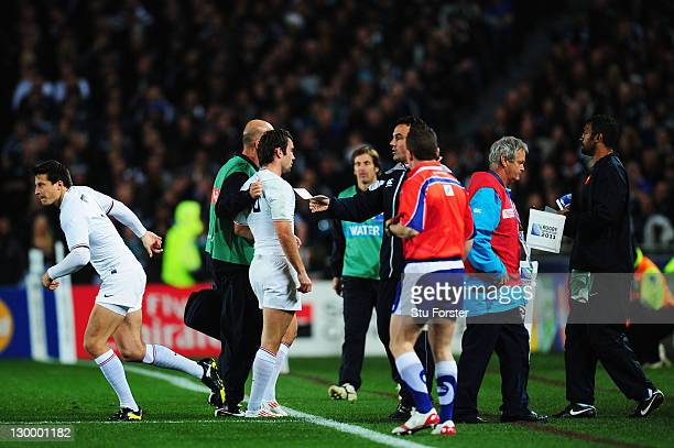 Morgan Parra of France leaves the pitch injured during the 2011 IRB Rugby World Cup Final match between France and New Zealand at Eden Park on...
