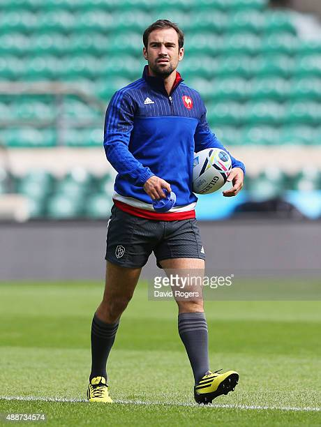 Morgan Parra of France looks on as he practices his kicking during the France Captain's Run at Twickenham Stadium on September 17 2015 in London...