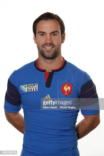 Morgan Parra of France poses during the France Rugby World Cup 2015 squad photo call at the Selsdon Park Hotel on September 15 2015 in Croydon England