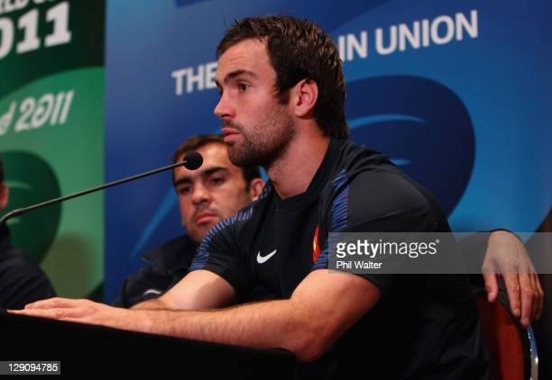 Morgan Parra of France speaks during a France IRB Rugby World Cup 2011 press conference at the Crowne Plaza Hotel on October 13 2011 in Auckland New...