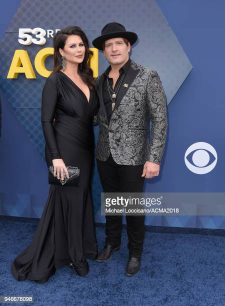 Morgan Petek and Jerrod Niemann attends the 53rd Academy of Country Music Awards at MGM Grand Garden Arena on April 15 2018 in Las Vegas Nevada