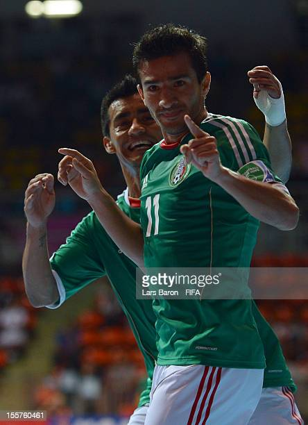 Morgan Plata of Mexico celebrates after scoring his teams second goal during the FIFA Futsal World Cup Group D match between Mexico and Italy at...