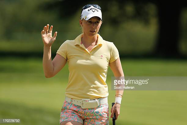 Morgan Pressel celebrates a birdie on the eighth hole during the weatherdelayed third round of the Wegmans LPGA Championship at Locust Hill Country...