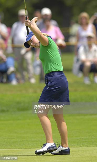 Morgan Pressel celebrates making a putt during the third round of the 2006 Corning Classic at the Corning Country Club in Corning NY on Saturday May...