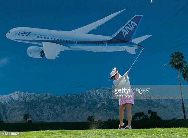 Morgan Pressel drives the ball off the 17th tee in the ANA Inspiration Round 1 at Mission Hills Country Club on April 2 2015 in Rancho Mirage...