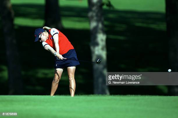 Morgan Pressel hits an approach shot on during the first round of the PG Beauty NW Arkansas Championship presented by John Q Hammons on July 4 2008...
