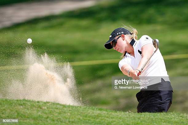 Morgan Pressel hits out of a bunker on the 17th hole during the first round of the SemGroup Championship presented by John Q Hammons on May 1 2008 at...