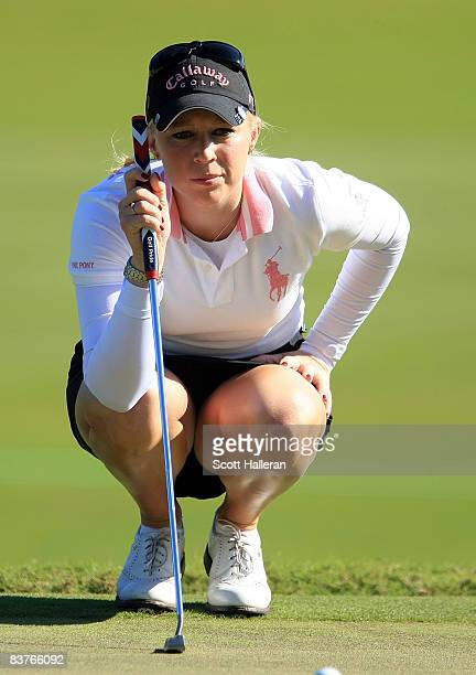 Morgan Pressel lines up a putt on the second green during the first round of the ADT Championship at the Trump International Golf Club on November 20...