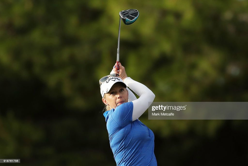 Morgan Pressel of the United States hits her tee shot on the 13th hole during day two of the ISPS Handa Australian Women's Open at Kooyonga Golf Club on February 16, 2018 in Adelaide, Australia.