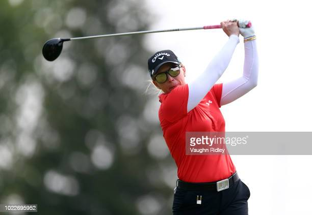 Morgan Pressel of the United States hits her tee shot on the 4th hole during the second round of the CP Womens Open at the Wascana Country Club on...