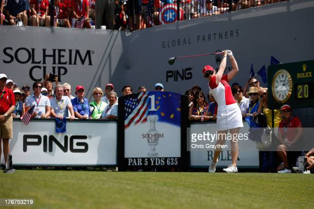 Morgan Pressel of the United States hits her tee shot on the first hole during the final day singles matches of the 2013 Solheim Cup on August 18...