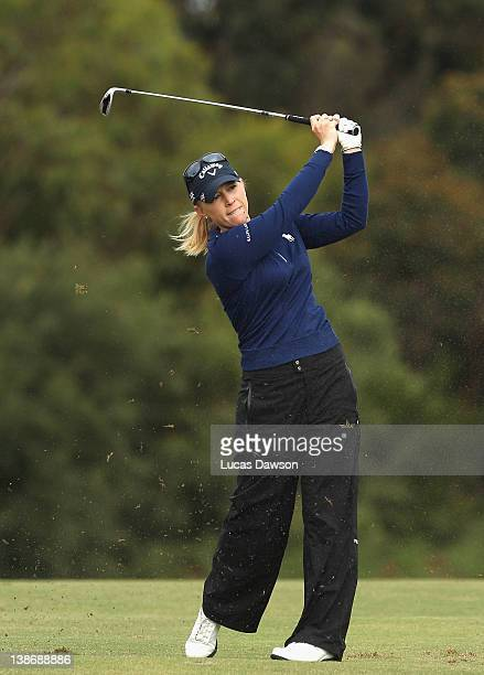 Morgan Pressel of the United States plays a shot during day three of the 2012 Women's Australian Open at Royal Melbourne Golf Course on February 11...