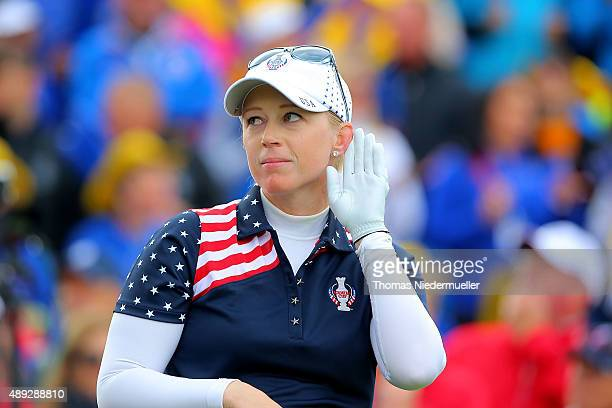 Morgan Pressel of the United States Team is seen at the first tee during the Sundays single matches in the 2015 Solheim Cup at St LeonRot Golf Club...