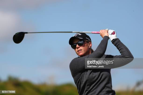 Morgan Pressel of the United States tees off during a practice round prior to the Ricoh Women's British Open at Kingsbarns Golf Links on August 2...