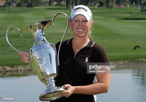 Morgan Pressel of the US holds the trophy the final round of the 2007 Kraft Nabisco Championship held at Mission Hills Country Club Club April 1 2007...