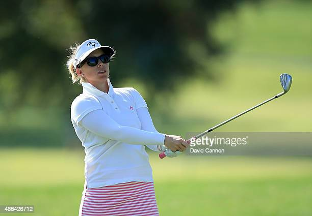 Morgan Pressel of the USA plays her second shot on the 12th hole during the first round of the ANA Inspiration on the Dinah Shore Tournament Course...