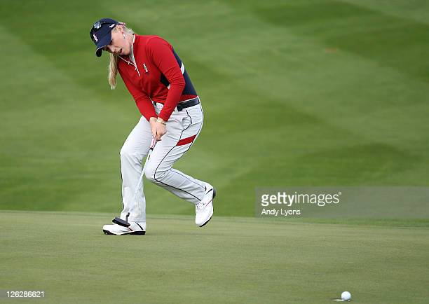 Morgan Pressel of the USA reacts to a missed putt during the afternoon fourballs on day two of the 2011 Solheim Cup at Killeen Castle Golf Club on...