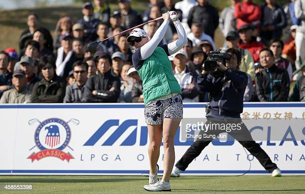Morgan Pressel of United States plays a shot during the round one of the Mizuno Classic at Kintetsu Kashikojima Country Club on November 7, 2014 in...