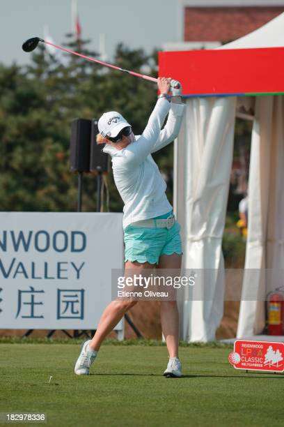 Morgan Pressel of United States plays a tee shot during the first round of the Reignwood LPGA Classic at Pine Valley Golf Club on October 3 2013 in...