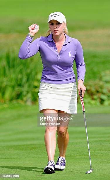 Morgan Pressel of USA celebrates her eagle putt on the 18th hole during the third round of the 2010 Evian Masters on July 24 2010 in Evian France