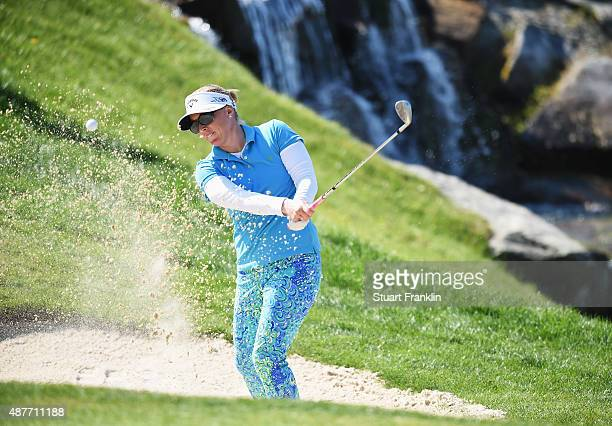 Morgan Pressel of USA plays a shot during the second round of the Evian Championship Golf on September 11 2015 in EvianlesBains France