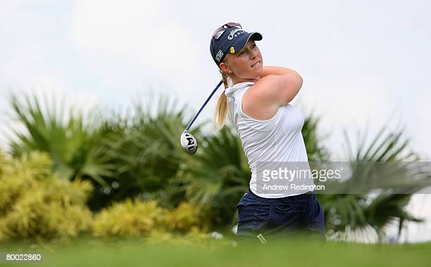 Morgan Pressel of USA tees off on the 11th hole during the ProAm prior to the start of the HSBC Women's Champions at Tanah Merah Country Club on...