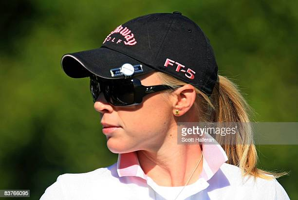 Morgan Pressel walks off the third tee during the first round of the ADT Championship at the Trump International Golf Club on November 20 2008 in...