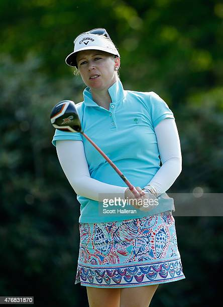 Morgan Pressel watches her tee shot on the third hole during the second round of the KPMG Women's PGA Championship on the West Course at the...