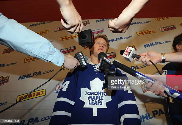 Morgan Rielly of the Toronto Maple Leafs meets with the media at the 2012 NHLPA rookie showcase at the MasterCard Centre on August 28 2012 in Toronto...