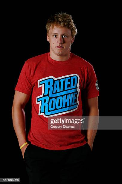 Morgan Rielly of the Toronto Maple Leafs poses for an NHLPA The Players Collection portrait at The Westin Harbour Castle hotel on August 27 2012 in...