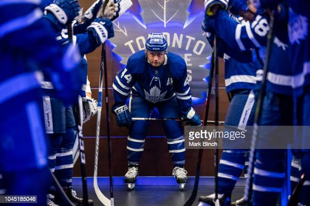 Morgan Rielly of the Toronto Maple Leafs prior to the start of the home opener against the Montreal Canadiens at the Scotiabank Arena on October 3...