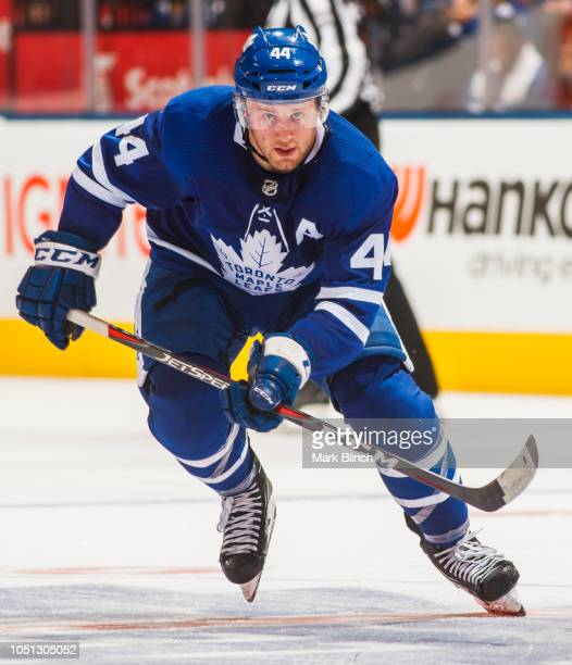 Morgan Rielly of the Toronto Maple Leafs skates against the Ottawa Senators during the second period at the Scotiabank Arena on October 6 2018 in...