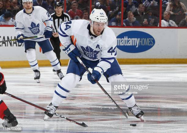 Morgan Rielly of the Toronto Maple Leafs skates against the Ottawa Senators at Canadian Tire Centre on March 30 2019 in Ottawa Ontario Canada