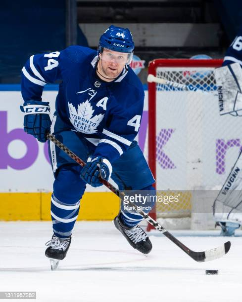 Morgan Rielly of the Toronto Maple Leafs skates against the Ottawa Senators during the third period at the Scotiabank Arena on April 10, 2021 in...