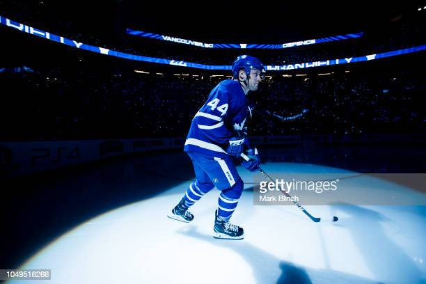 Morgan Rielly of the Toronto Maple Leafs takes the ice during player introductions on opening night before playing the Montreal Canadiens at the...