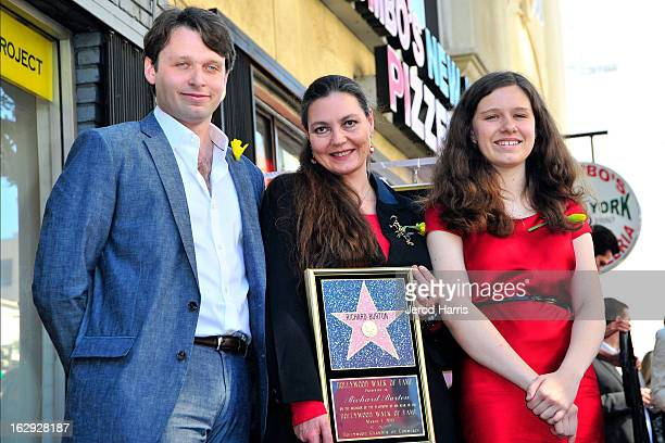 Morgan Ritchie, Maria Burton and Charlotte Ritchie attend a ceremony honoring Richard Burton with a Star on the Hollywood Walk of Fame next to...