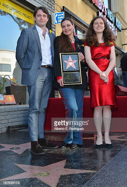 Morgan Ritchie, Maria Burton and Charlotte Ritchie attend a ceremony honoring Richard Burton with the 2,491st star on the Hollywood Walk of Fame on...