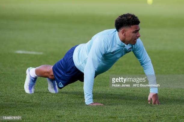 Morgan Rogers of Bournemouth during a training session at the Vitality Stadium on October 14, 2021 in Bournemouth, England.