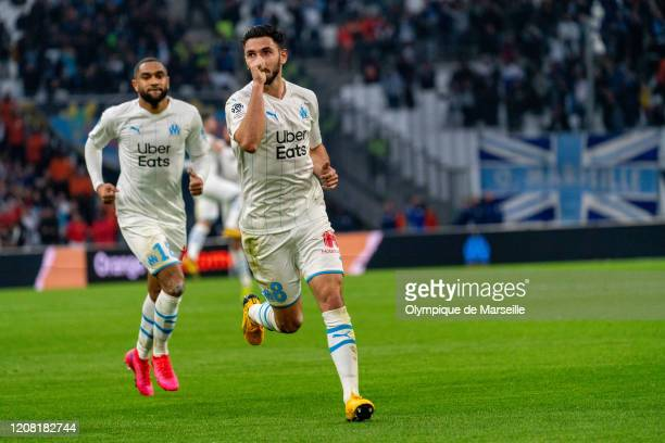 Morgan Sanson celebrates goal during the Ligue 1 match between Olympique Marseille and FC Nantes at Stade Velodrome on February 22, 2020 in...