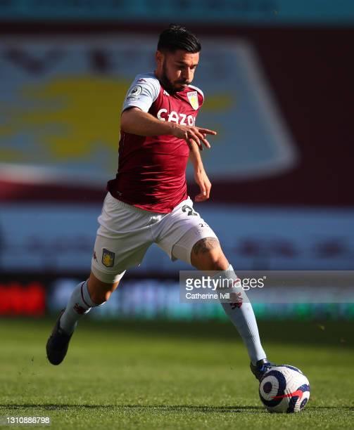 Morgan Sanson of Aston Villa during the Premier League match between Aston Villa and Fulham at Villa Park on April 04, 2021 in Birmingham, England....