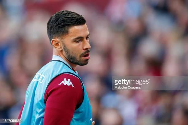 Morgan Sanson of Aston Villa looks on during the Premier League match between Aston Villa and Wolverhampton Wanderers at Villa Park on October 16,...