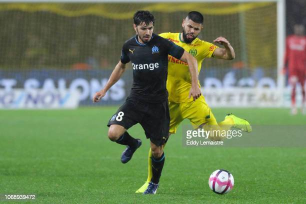 Morgan Sanson of Marseille and Diego Carlos of Nantes during the French Ligue 1 match between FC Nantes and Olympique de Marseille on December 5 2018...