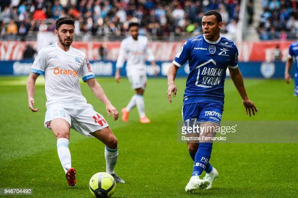 Morgan Sanson of Marseille and Johann Obiang of Troyes during the Ligue 1 match between Troyes Estac and Olympique de Marseille at Stade de l'Aube on...
