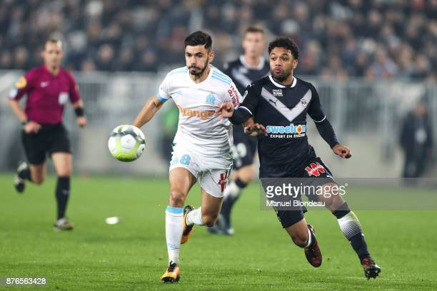 Morgan Sanson of Marseille and Otavio of Bordeaux during the Ligue 1 match between FC Girondins de Bordeaux and Olympique Marseille at Stade Matmut...